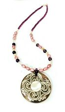 Genuine Charoite & Pearls Authentic Gemstones Necklace Jewelry Mother of Pearl