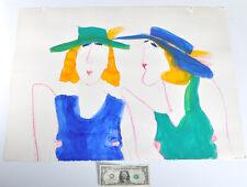 Original Painting Denver Artist Patricia Patti Cramer Watercolor Women Hat 23x30