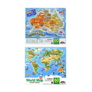 60 Piece Jigsaw Puzzle 61cm x 46cm Kids Floor Puzzle Australia World Map Toy NEW