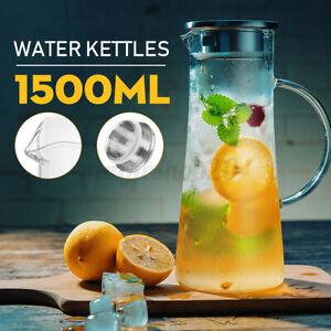 Wasserkaraffe Wasserkrug Kühlkaraffe Glaskaraffe mit Edelstahl Filter Glas 1.5L