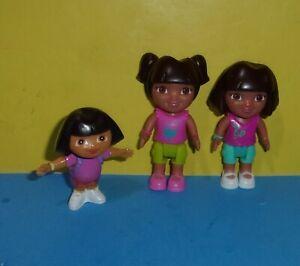 2012 Mattel Dora The Explorer Dollhouse Figures Two Doras and One PVC