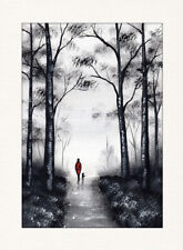 LANDSCAPE WATERCOLOUR PAINTING A4, Forest Walk, Woodland,Dog, Sarah Featherstone