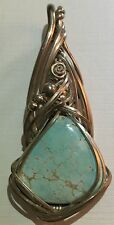 Sleeping Beauty Blue Turquoise Pendant Wire Wrapped Sterling Silver