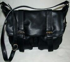 New MMS Design Studio Black Extra Large Crossbody Messenger Briefcase Bag Tote