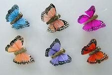 12 Mini Feather butterflies 3cm 6 assorted colours weddings flower craft, NEW