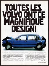 1990 VOLVO Vintage Original Print AD - Crash test blue car photo French Canada