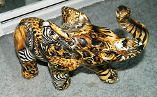 """ORNATE Painted Large CHINA ELEPHANT FIGURE """"TRUNK UP for Good Luck"""""""