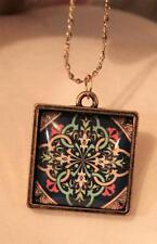 Square Goldtne Red Blue Yellow & Pale Green Floral Twist Cameo Pendant Necklace
