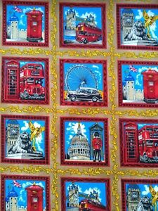 LONDON SIGHTS, LONDON TOUR, ICONIC LANDMARKS, fabric 100% cotton /PER METRE/