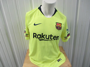 NIKE FC BARCELONA LARGE SEWN NEON GREEN THIRD JERSEY 2018/19 KIT PREOWNED