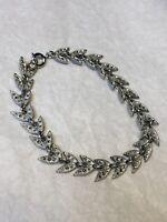 1950s Link Bracelet Glass Paste Chrome Plated Leaf Design Vintage Jewellery
