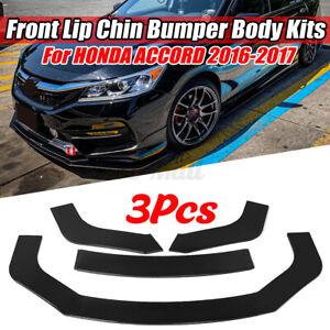 For Honda Accord EX EX-L Sport 2016 2017 Front Bumper Lip Splitter Gloss Black
