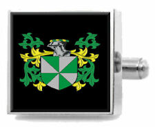 Lampet England Heraldry Crest Sterling Silver Cufflinks Engraved Message Box
