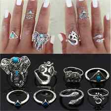 8PCS Ring Set Vintage Boho Tribal Ethnic Turquoise Elephant Snake Hippie Gothic