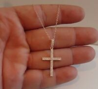 ROSE GOLD OVER 925 STERLING SILVER CROSS PENDANT NECKLACE W/ 2 CT ACCENTS / 18''