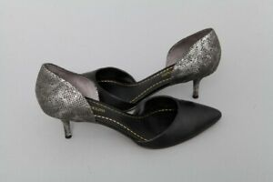 Women's Enzo Angiolini Black Leather w/ Snakeskin Heel Accent Size 10 M