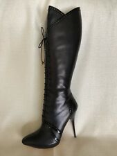f808231b2c2f Alexander McQueen Black Lace Up Leather Knee High Boots Size 40