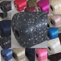 Sale 1 Cone 500g Nylon Polyester Sparkly Hand Knitting Sequin Crochet Yarn