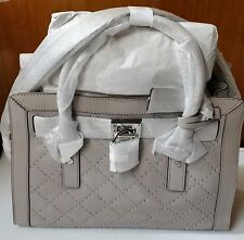 Michael Kors Hamilton Leather Micro Studded Quilted Satchel Bag Pearl Grey NWT