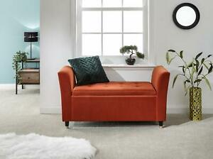Orange Genoa Storage Ottoman Window Bench Seat Upholstered Fabric Buttoned Top