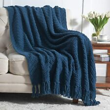 Bedsure Navy Blue Throw Blanket for Couch, Knit Woven Chenille Blanket for Chair