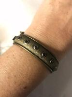 Vtg Hobe' Jeweled Hinged Bangle Bracelet