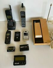 Vintage lot of Motorola Brick CellPhone, Uniden flip phone, Beepers  other cells