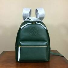 Tory Burch Perry Bombe Small Pebbled Leather Backpack Shoulder Bag Pine Tree