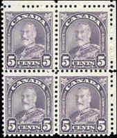 Mint H/NH Canada Block of 4 1930 F 5c Scott #169 King George V Arch/Leaf Stamps