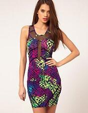 Lipsy Bodycon Mini Dress 10 Mesh Plunge Black Purple Multi Club Party Christmas