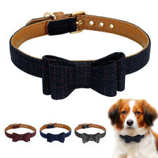 Fashion Bow Tie Dog Collar Boy Girl Soft Leather Padded Pet Puppy Cat Chihuahua