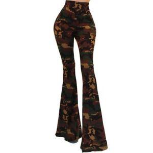 GS Women Green Camouflage High Waist Palazzo Bell Bottom Pants S M