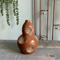 Vintage Pottery Ceramic Gourd Shaped Textured Vase Decor Decoration