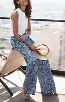 BANANA REPUBLIC Blue Printed Belted Wide-Leg Linen Blend Trouser Pants M 8 Short