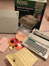 Royal Electronic Typewriter Alpha 100 Portable Beta 200 With Box Papers N Extras