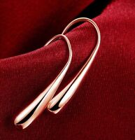 Curved Ear Threader Earrings 18K Rose Gold Hook Crystal Drop Dangle Threads