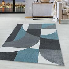 Kurzflor Design Teppich Wohnzimmerteppich Zipcode Muster Abstrakt Soft Flor Blau