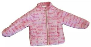Disney Pink Puffer Quilted Sz 2 Coat Jacket Princess Names Shiny Silver Foil Kid