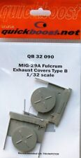 Quickboost 1/32 cubiertas de escape MiG-29A Fulcrum tipo B para Trumpeter # 32090