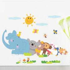 Happy animals Elephant Monkey wall sticker kids room DIY Cartoon Zoo decals