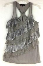 Almost Famous Women's Lace & Velvet Ruffle Racerback Gray Tank Top Sz:L Stretch