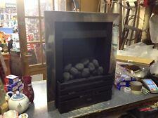 MODERN CHROME /BLACK DECORATIVE COAL GAS FIRE.(BRISTOL)