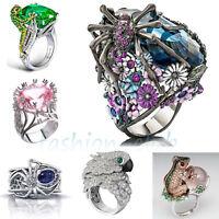 Turkish Sapphire Emerald Gemstone Animal 925 Silver Wedding Ring Jewelry Sz 6-10