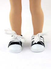 """Black Canvas Sneakers Fits Wellie Wishers 14.5"""" American Girl Clothes Shoes"""