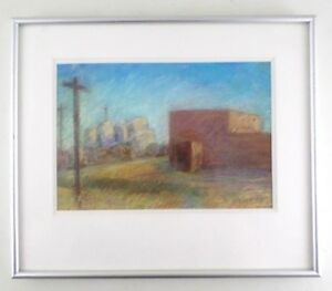 "Pastel Cityscape Landscape Drawing ""Summer Tanks"" Signed Horesh 1994 - Framed"