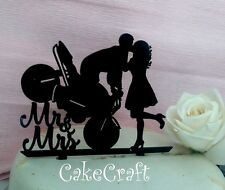 Black  Acrylic  Motorbike Mr & Mrs Wedding, anniversary cake toppers decorations