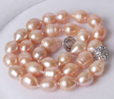 Genuine Big 11-13MM Natural Rice Pink Akoya Pearl Hand Knotted Necklace 18""
