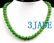 A Grade Natural Green Nephrite Jade Beads Necklace w/ Certificate