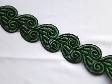 Green Corded Swirl Embroidery Lace Dress Costume Sewing Trim (EB0296)