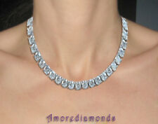 30 ct F VS round ideal cut diamond tennis necklace 14k white gold 1/2 ct each